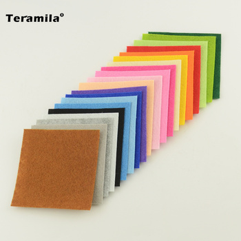 Teramila Polyester Felt Fabric Pack 20 Basic Colors 1mm DIY Handmade Sewing Material Nonwoven Cloth Craft Doll Toy Flower