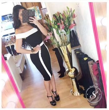 Yeni varış seksi kapalı omuz bodycon mini dress slash boyun seksi kulübü gece dress hl bandaj dress