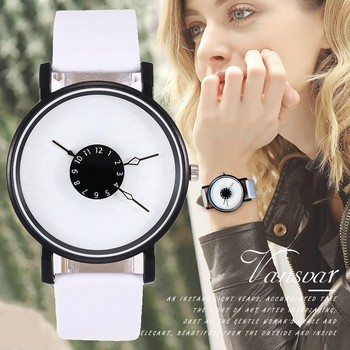 Vansvar Brand Unique Dial Design Watch Leather Wristwatches Fashion Creative Watches Women Men Quartz Watch Relogio Feminino Hot